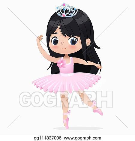 Vector Art Cute Small Brunette Girl Ballerina Dance Isolated Caucasian Ballet Dancer Baby Princess Character Jump Motion Elegant Doll Wear Pink Tutu Dress Beautiful Kid Flat Cartoon Vector Illustration Clipart Drawing