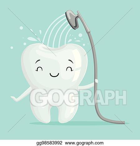 Vector Art Cute Smiling Healthy White Cartoon Tooth Character Taking A Shower Oral Dental Hygiene Childrens Dentistry Concept Vector Illustration Clipart Drawing Gg98583992 Gograph