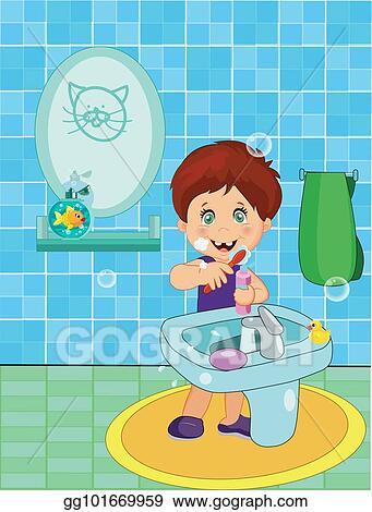Cute Smiling Little Boy In Underwear Brushing Teeth