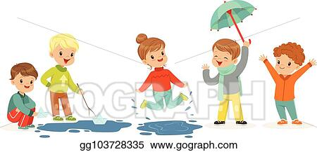 2d174fcb7 Vector Art - Cute smiling little kids playing on puddles