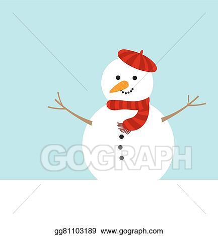 vector art cute snowman in red beret clipart drawing gg81103189