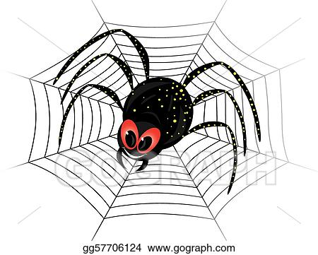 Vector Stock Cute Spider On Web Stock Clip Art Gg57706124