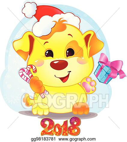 cute symbol of chinese horoscope yellow dog for new year 2018