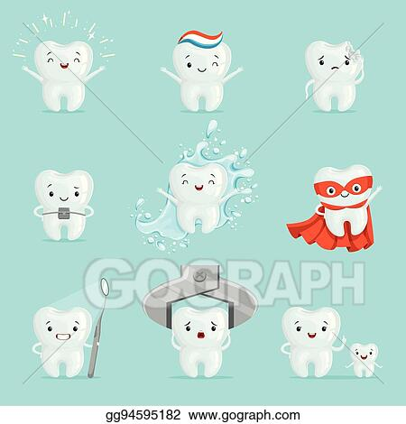 Vector Art Cute Teeth With Different Emotions Set For Label Design Cartoon Detailed Illustrations Clipart Drawing Gg94595182 Gograph