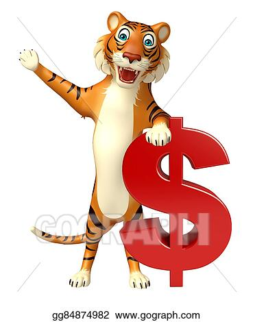 Stock Illustration - Cute tiger cartoon character with