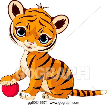 vector art cute tiger cub clipart drawing gg60346671 gograph rh gograph com cute tiger clipart vector cute tiger clipart vector