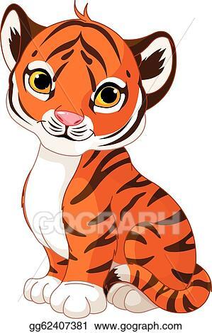 vector art cute tiger cub clipart drawing gg62407381 gograph rh gograph com cute baby tiger clipart cute tiger cub clipart