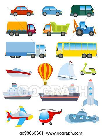 Vector Clipart - Cute transport set. simple cartoon road ...