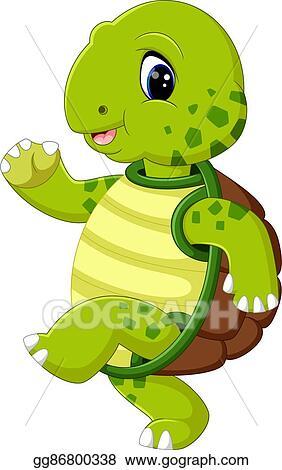 Eps Illustration Cute Turtle Cartoon Vector Clipart Gg86800338