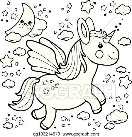 Vector Art Cute Unicorn Flying In The Night Sky Black And White
