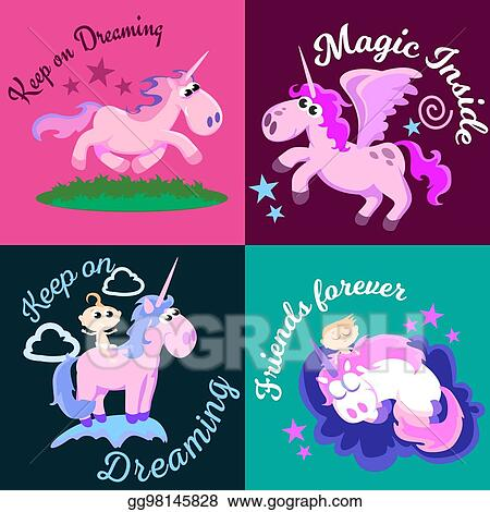 Vector Clipart Cute Unicorn Isolated Set Magic Pegasus