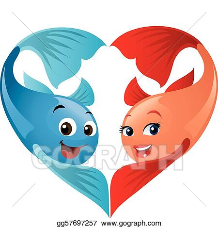 Vector Stock Cute Valentine Fish Couple Forming A Heart A Fun