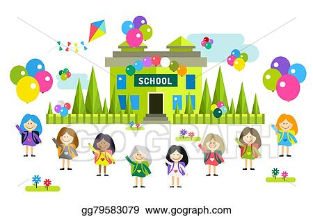 Vector Stock Cute Vector Cartoon Girls From Different Countries Playing Near School Building Clipart Illustration Gg79583079 Gograph