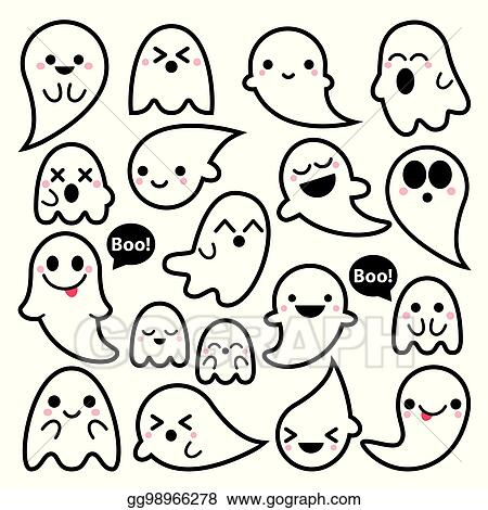 Vector Art Cute Ghosts Icons Halloween Design Set Kawaii Black Stroke Ghost Collection On White Background Eps Clipart Gg98966278 Gograph