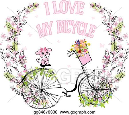 Vector Illustration Cute Vector Retro Bicycle For Ladies With Dog