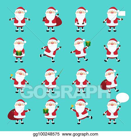 cute vector santa claus icon set in flat style christmas collection xmas and new year character in different poses funny santa with different emotions