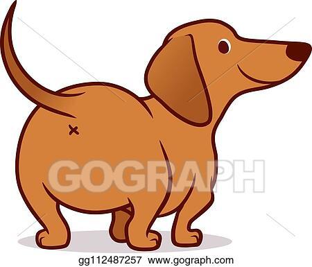 Vector Clipart Cute Wiener Sausage Dog Vector Cartoon Illustration
