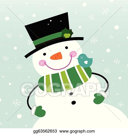 vector stock cute winter snowman isolated on snowing background