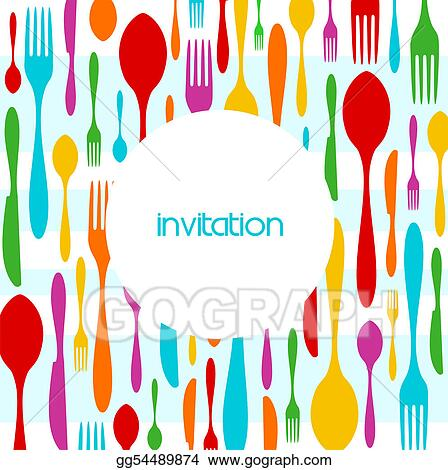 Drawing Cutlery Colorful Pattern Invitation Clipart