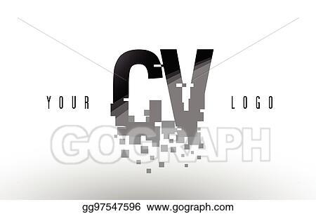 Vector Art - Cv c v pixel letter logo with digital shattered