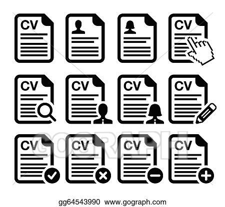 Vector Illustration Cv Curriculum Vitae Resume Icons Stock