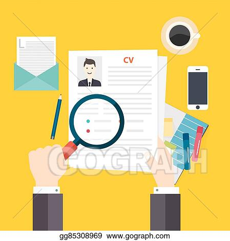 Vector Clipart Cv Resume Job Interview Concept Writing A