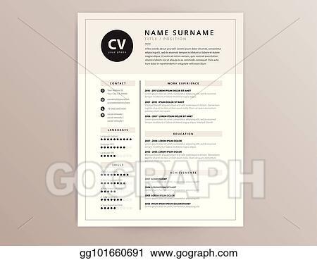 Vector Clipart Cv Resume Template Elegant Stylish Vector