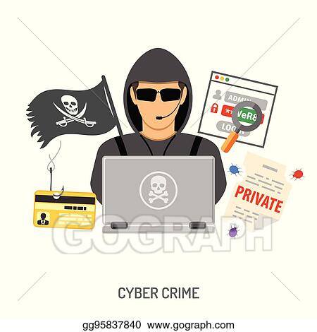 vector art cyber crime concept with hacker clipart drawing gg95837840 gograph https www gograph com clipart license summary gg95837840