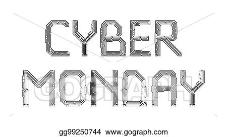 Vector Stock - Cyber monday from the letters of the printed circuit ...