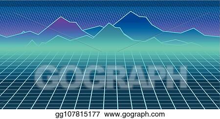 Clip Art Vector - Cyberpunk retro computer background