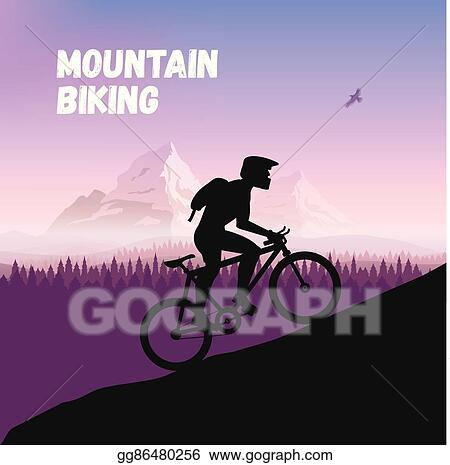Clip Art Vector Cyclist In Rough Road Bicycle Racing Go To The