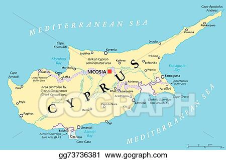 EPS Vector Cyprus political map Stock Clipart Illustration