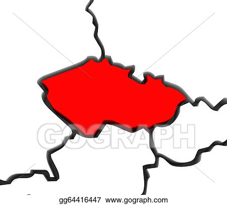 Drawing Czech Republic Region Map Central Europe Clipart Drawing