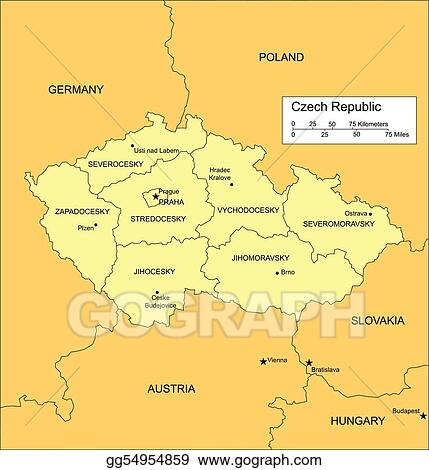 Map Of Countries Near Germany.Eps Vector Czech Republic With Administrative Districts And