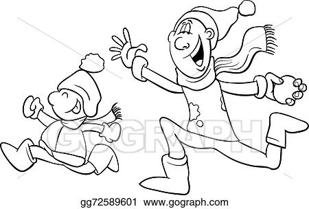 - Vector Illustration - Dad And Son On Winter Coloring Book. EPS Clipart  Gg72589601 - GoGraph