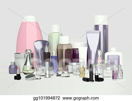 Clip Art Daily Beauty Care Cosmetic And Make Up Products Face Cream Eye Cream Serum And Lip Balm Located On A Gray Background Skin Care Stock Illustration Gg101994872 Gograph