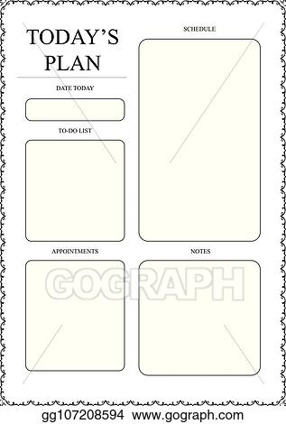 Vector Art Daily Planner Template Ready For Print With Space For