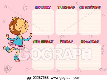 Vector Illustration Daily Schedule For Children Vector Template
