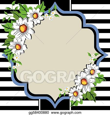 Vector Clipart Daisy Flower Frame Vector Illustration Gg58400880