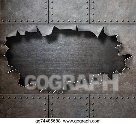 Stock Illustration Damaged Metal Armor With Torn Hole
