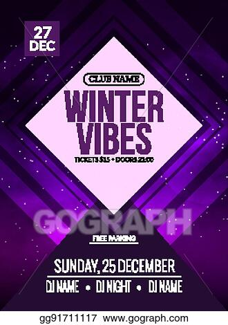 Vector Clipart Dance Party Dj Battle Poster Design Winter Disco Party Music Event Flyer Or Banner Illustration Template Vector Illustration Gg91711117 Gograph