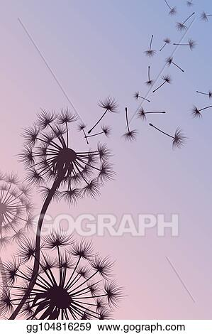Vector Clipart Dandelion With Blowing Spores Vector Abstract