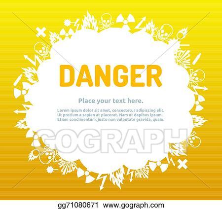 Vector Stock - Danger sign set in cloud banner  Stock Clip Art