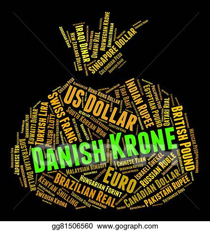 Stock Illustration Danish Krone Represents Currency Exchange And