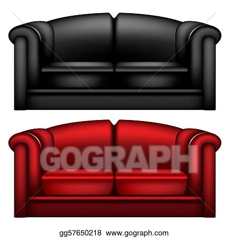 EPS Vector - Dark black and red leather sofa. Stock Clipart ...