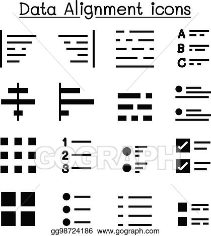 vector illustration data alignment text formatting icon set