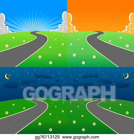 Stock Illustration - Day and night scene set. Clipart Drawing ...