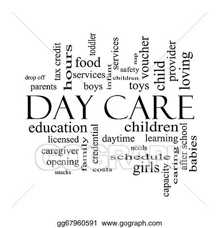 Day care word cloud concept in black and white
