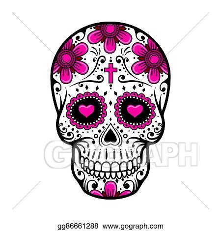 Eps Illustration Day Of The Dead Skull Sugar Flower Tattoo