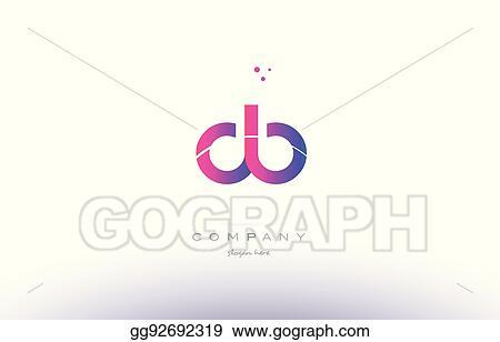 Vector Illustration Db D B Pink Modern Creative Alphabet Letter